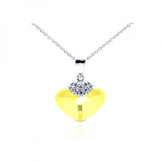 **Closeout** Wholesale Sterling Silver 925 Rhodium Plated Yellow CZ Heart Pendant Necklace - STP01064YLW