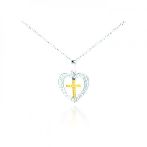 -Closeout- Wholesale Sterling Silver 925 Rhodium and Gold Plated Clear CZ Cross Heart Pendant Necklace - STP01066