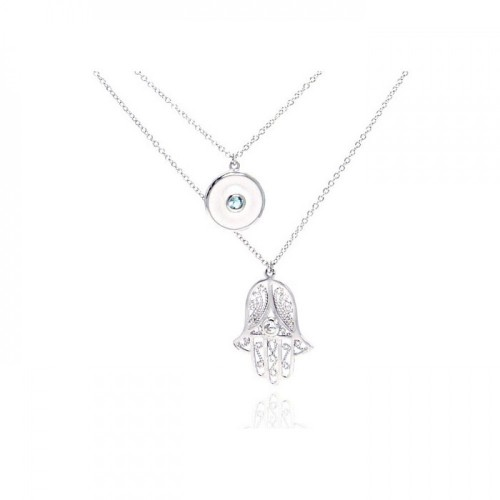 Wholesale Sterling Silver 925 Rhodium Plated Clear CZ Hamsa Pendant Necklace - STP01076