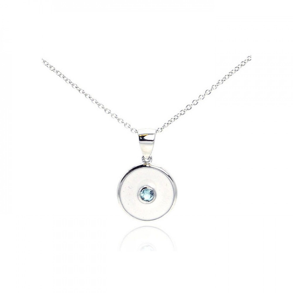 Wholesale Sterling Silver 925 Rhodium Plated Blue CZ Circle Pendant Necklace - STP01078