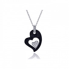 **Closeout** Sterling Silver Rhodium Plated Clear CZ Black Heart Pendant Necklace - STP01125