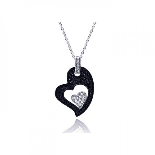**Closeout** Wholesale Sterling Silver 925 Rhodium Plated Clear CZ Black Heart Pendant Necklace - STP01125