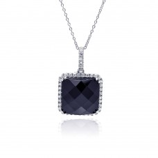 **Closeout** Sterling Silver Rhodium Plated Clear CZ Square Onyx Pendant Necklace - STP01126