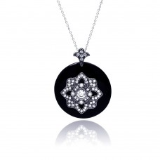 **Closeout** Sterling Silver Black Rhodium Plated Clear CZ Black Synthetic Pendant Necklace - STP01127BLK