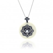 **Closeout** Sterling Silver Black Rhodium Plated Clear CZ Round White Synthetic Pendant Necklace - STP01127WT