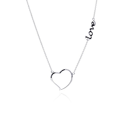 Wholesale Sterling Silver 925 Rhodium Plated Clear CZ Love Heart Pendant Necklace - STP01128-LO