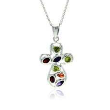 Wholesale Sterling Silver 925 Rhodium Plated Colorful CZ Round Cross Pendant Necklace - STP01139