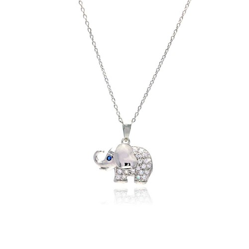 Wholesale Sterling Silver 925 Rhodium Plated Clear CZ Elephant Pendant Necklace - STP01142