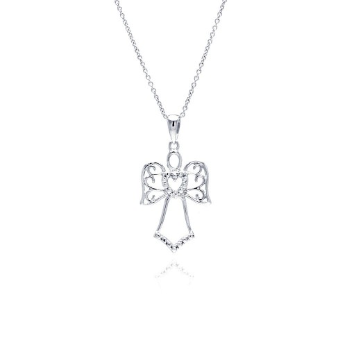 Wholesale Sterling Silver 925 Rhodium Plated Clear CZ Angel Saint Pendant Necklace - STP01145
