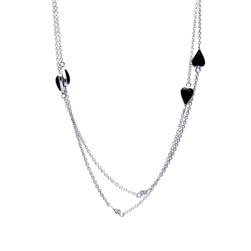 Wholesale Sterling Silver 925 Rhodium Plated Black Hearts Pendant Necklace - STP01146