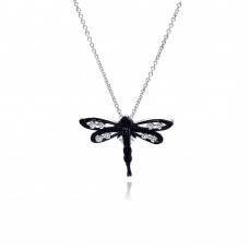 Sterling Silver Black Rhodium Plated Clear CZ Dragonfly Pendant Necklace - STP01148