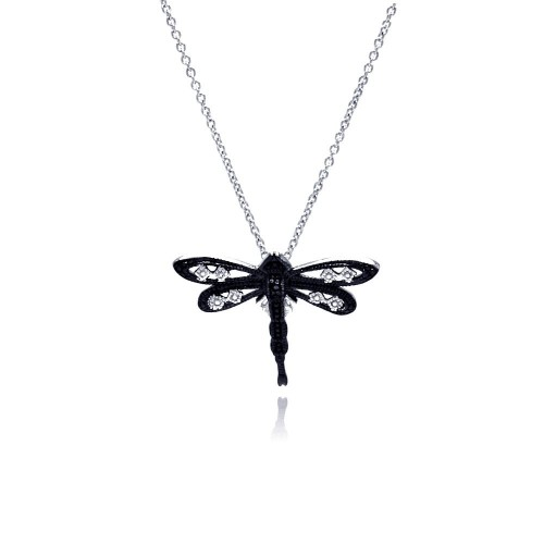 Wholesale Sterling Silver 925 Black Rhodium Plated Clear CZ Dragonfly Pendant Necklace - STP01148
