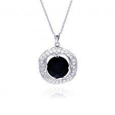 **Closeout** Sterling Silver Rhodium Plated Clear CZ and Onyx Pendant Necklace - STP01149