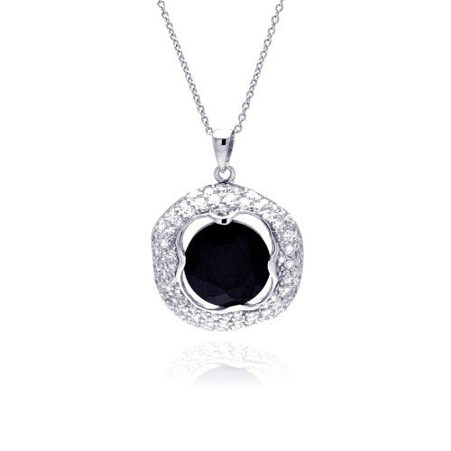 **Closeout** Wholesale Sterling Silver 925 Rhodium Plated Clear CZ and Onyx Pendant Necklace - STP01149