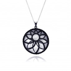 **CLOSEOUT** Sterling Silver Black Rhodium Plated Flower Pendant Necklace - STP01150