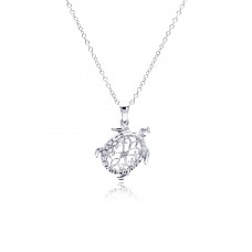 Sterling Silver Rhodium Plated Clear Diamond Turtle Pendant Necklace - STP01307