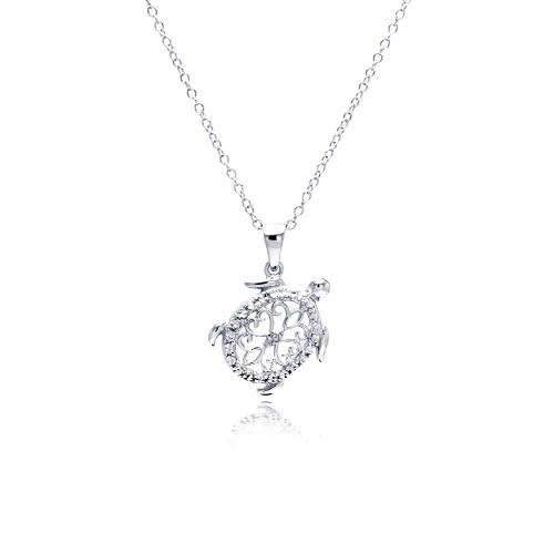 Wholesale Sterling Silver 925 Rhodium Plated Clear Diamond Turtle Pendant Necklace - STP01307
