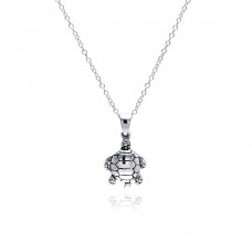 Sterling Silver Rhodium Plated  Turtle Pendant Necklace - STP01308