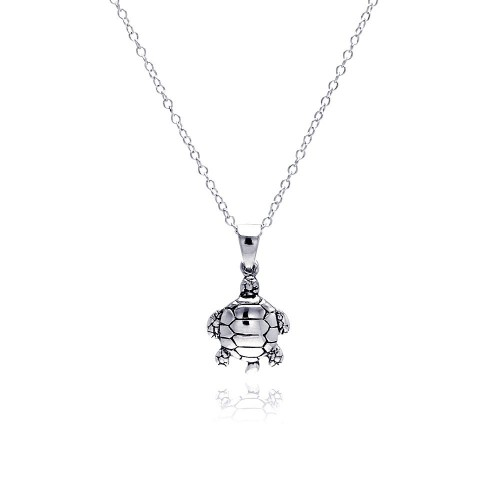 Wholesale Sterling Silver 925 Rhodium Plated  Turtle Pendant Necklace - STP01308