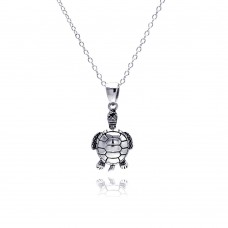 Sterling Silver Rhodium Plated Clear CZ Turtle Pendant Necklace - STP01310