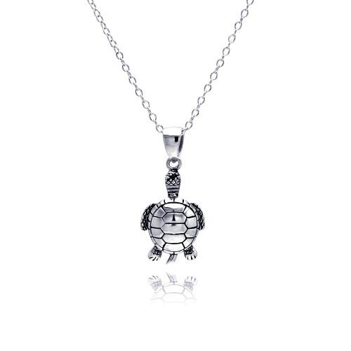 Wholesale Sterling Silver 925 Rhodium Plated Clear CZ Turtle Pendant Necklace - STP01310