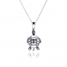 Sterling Silver Rhodium Plated Clear CZ Turtle Pendant Necklace - STP01311