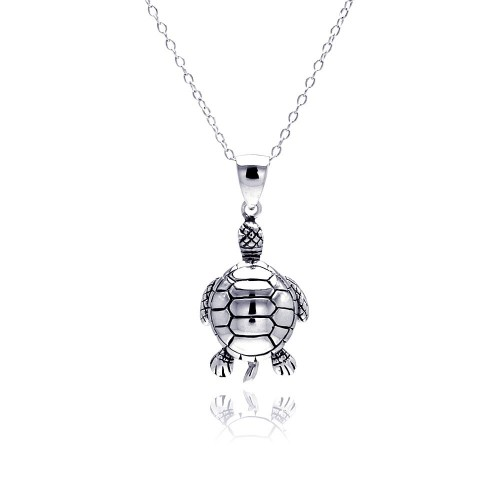 Wholesale Sterling Silver 925 Rhodium Plated Clear CZ Turtle Pendant Necklace - STP01311