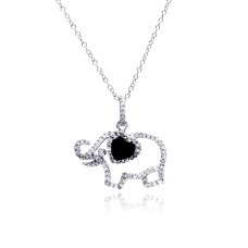 Sterling Silver Rhodium Plated Clear CZ Elephant Pendant Necklace - STP01312