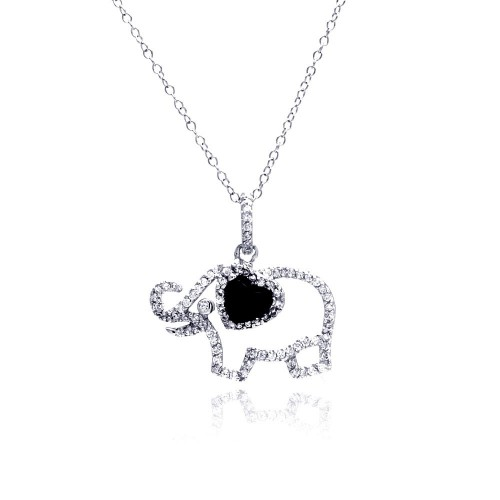 Wholesale Sterling Silver 925 Rhodium Plated Clear CZ Elephant Pendant Necklace - STP01312