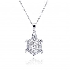 Sterling Silver Rhodium Plated Clear CZ Turtle Pendant Necklace - STP01314
