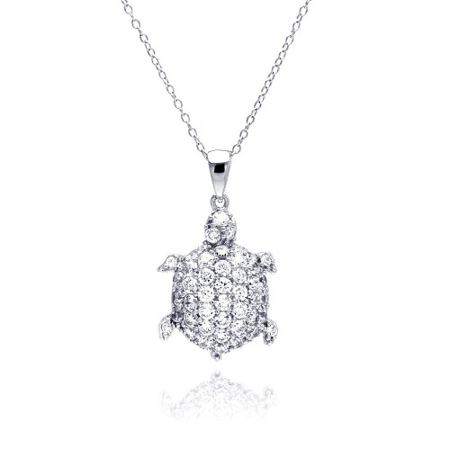 Wholesale Sterling Silver 925 Rhodium Plated Clear CZ Turtle Pendant Necklace - STP01314
