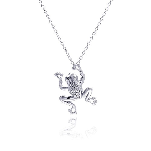 Wholesale Sterling Silver 925 Rhodium Plated Clear Diamond Frog Pendant Necklace - STP01316