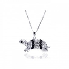 Sterling Silver Rhodium Plated Clear CZ Turtle Pendant Necklace - STP01317