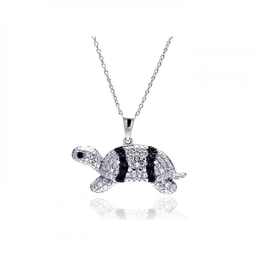 Wholesale Sterling Silver 925 Rhodium Plated Clear CZ Turtle Pendant Necklace - STP01317