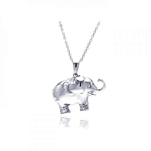 Wholesale Sterling Silver 925 Rhodium Plated Clear CZ Elephant Pendant Necklace - STP01319