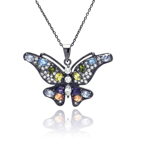 Wholesale Sterling Silver 925 Rhodium Plated Clear CZ Butterfly Pendant Necklace - STP01323