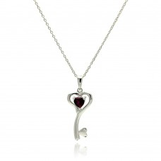 Wholesale Sterling Silver 925 Rhodium Plated Clear CZ Heart Key Pendant Necklace - STP01327