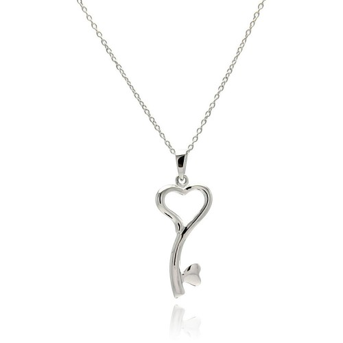 Wholesale Sterling Silver 925 Rhodium Plated Clear CZ Heart Key Pendant Necklace - STP01328