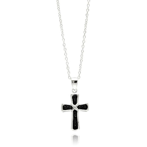 Wholesale Sterling Silver 925 Rhodium Plated Clear CZ Cross Pendant Necklace - STP01331