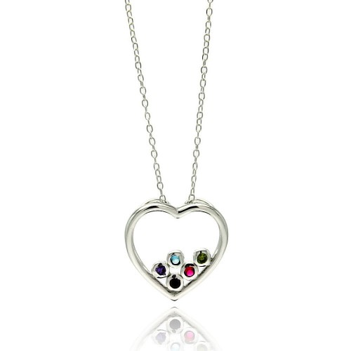 Wholesale Sterling Silver 925 Rhodium Plated Clear CZ Heart Pendant Necklace - STP01332