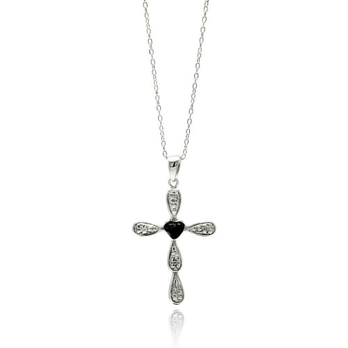 -Closeout- Wholesale Sterling Silver 925 Rhodium Plated Clear CZ Cross Pendant Necklace - STP01335