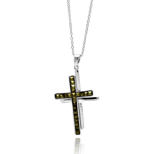 -Closeout- Wholesale Sterling Silver 925 Rhodium Plated Clear CZ Cross Pendant Necklace - STP01338