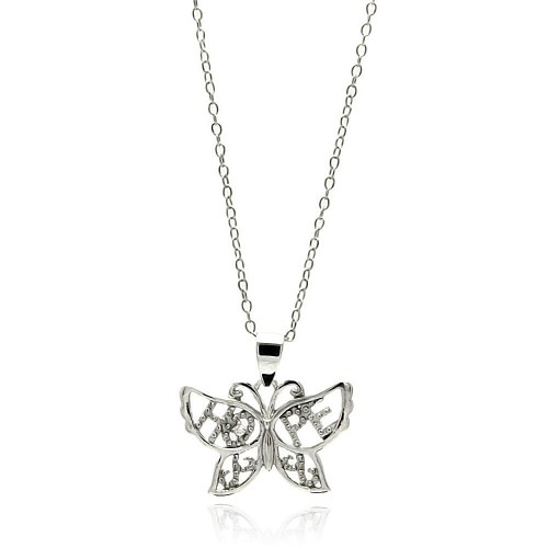 Wholesale Sterling Silver 925 Rhodium Plated Clear CZ Butterfly Pendant Necklace - STP01345