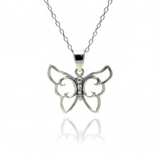 Sterling Silver Rhodium Plated Clear CZ Butterfly Pendant Necklace - STP01347