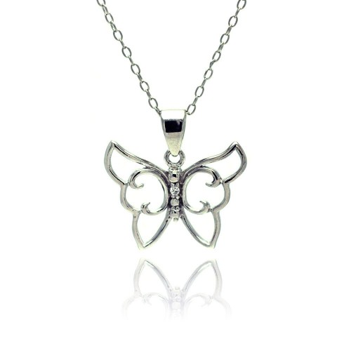 Wholesale Sterling Silver 925 Rhodium Plated Clear CZ Butterfly Pendant Necklace - STP01347