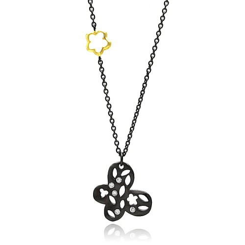 Wholesale Sterling Silver 925 Black Rhodium Plated Clear CZ Butterfly Pendant Necklace - STP01348