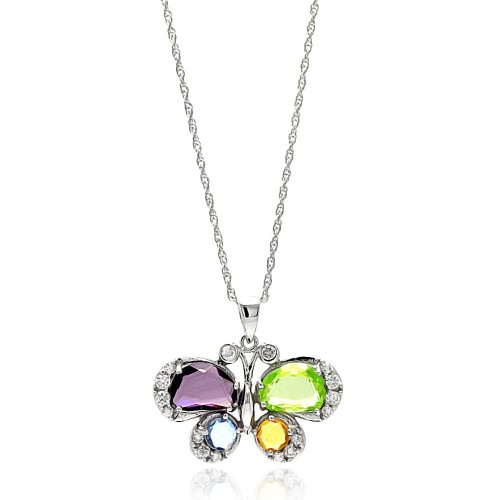Wholesale Sterling Silver 925 Rhodium Plated Clear CZ Colorful Butterfly Pendant Necklace - STP01350
