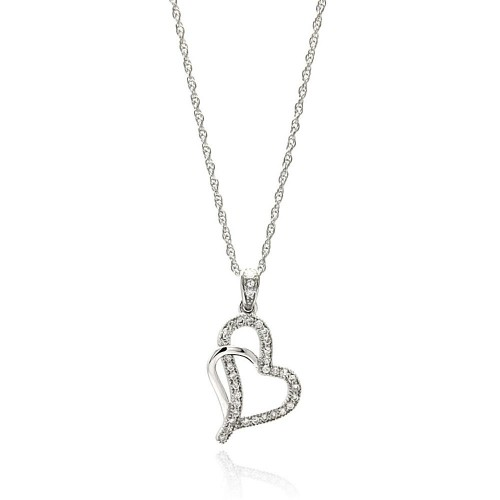 Wholesale Sterling Silver 925 Rhodium Plated Clear CZ Heart Pendant Necklace - STP01351