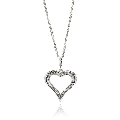 Wholesale Sterling Silver 925 Rhodium Plated Clear CZ Heart Pendant Necklace - STP01353