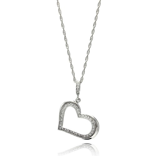 Wholesale Sterling Silver 925 Rhodium Plated Clear CZ Heart Pendant Necklace - STP01355